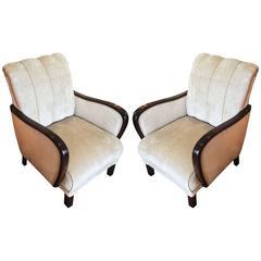 Pair of Art Deco German Armchairs Lounge Chairs, circa 1930
