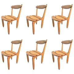 """Guillerme & Chambron Set of Six Dining Chairs """"Thierry"""" in Solid Oak"""