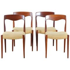 Set of Four Scandinavian Chairs in Teak with Pierre Frey Fabric