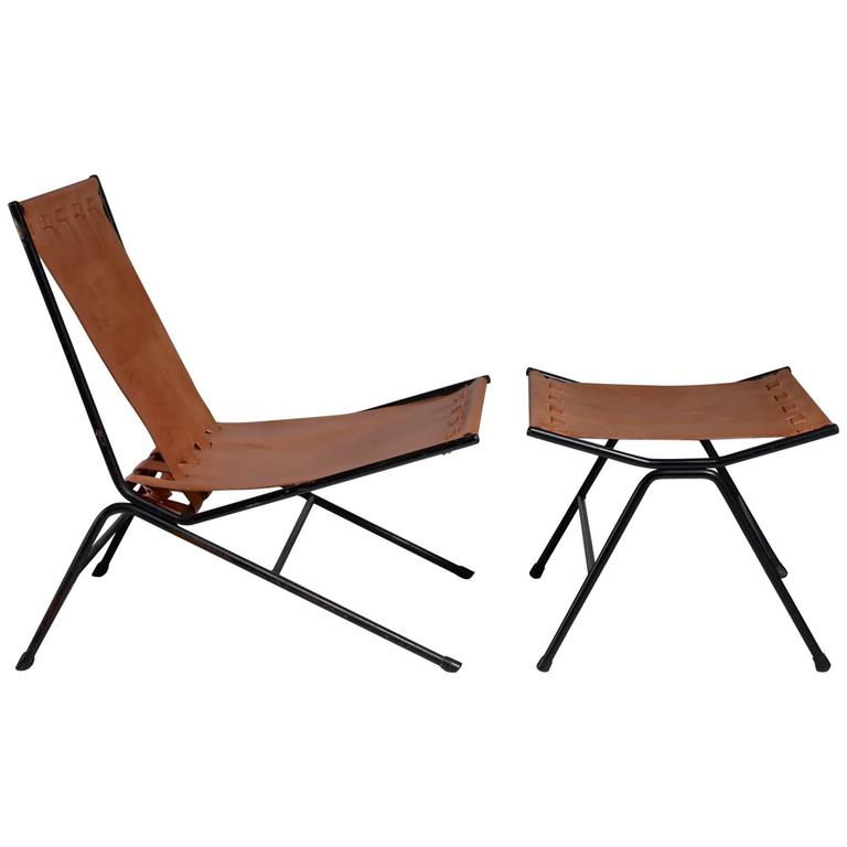 Allan Gould Lounge Chair with Ottoman, USA, 1950s