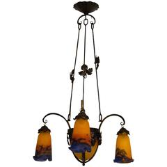 Beautiful Art Nouveau Chandelier by Muller Frères Luneville