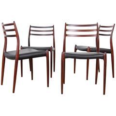 Set of Four Rosewood Chairs Mod. 78 by Niels Møller
