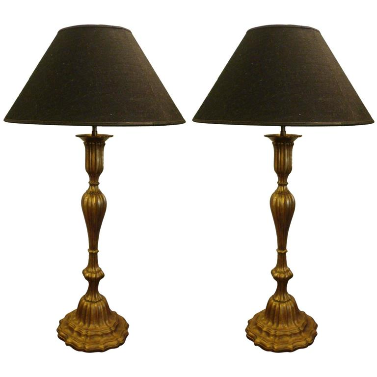 8922a6b5ec Pair of Giltwood and Brass Table Lamps