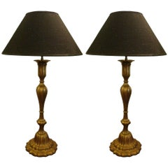 Pair of Giltwood and Brass Table Lamps, Wiener Secession