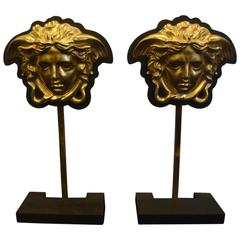 Gold-Plated Greek Medusas Side Tables Stands, Italian, circa 1970