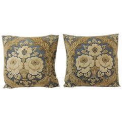 Pair of Vintage Cotton Cut Velvet Floral Decorative Pillows