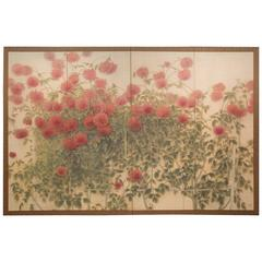 Japanese Four-Panel Screen Red Dahlias