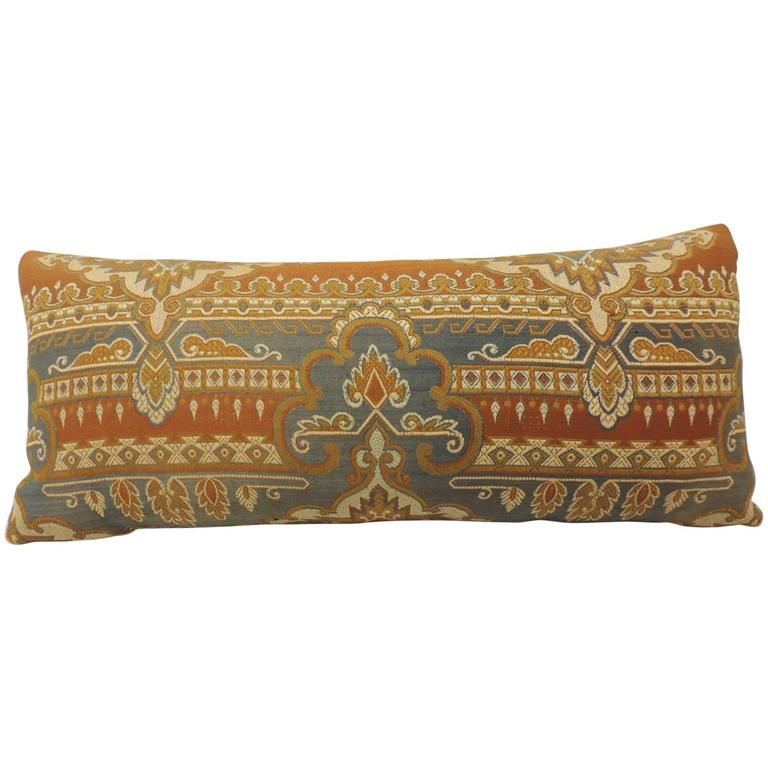 Long Decorative Pillows : 19th Century Arts and Crafts Long Bolster Decorative Pillow For Sale at 1stdibs