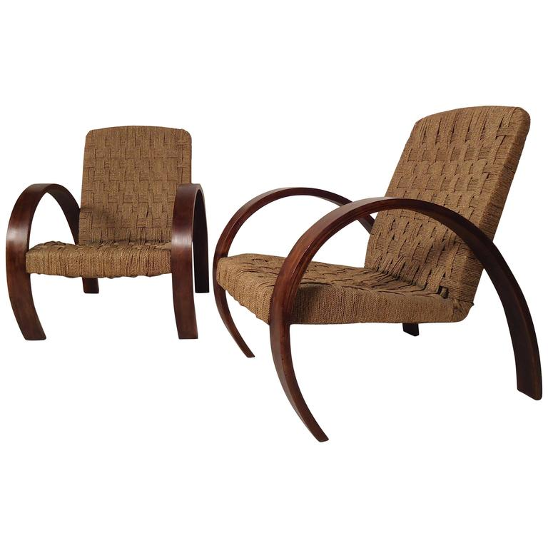 Mid-Century Modern Rope Lounge Chairs in the Style of Bas Van Pelt