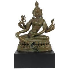 19th Century Tibetan Patinated Bronze Figure of Tara on New Black Base