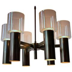 Six Arm 12 light Chandelier Attributed to  Arredoluce  Mid-Century 1960's Italy