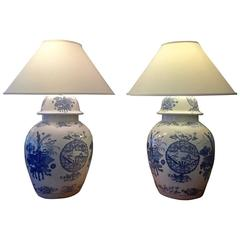 Pair of Monumental Blue and White Chinese Ginger Jar Lamps