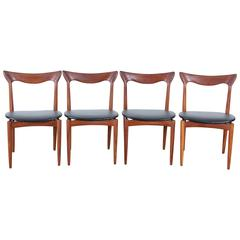 Set of Four Scandinavian Chairs in Teak Designed by Henry Walter Klein