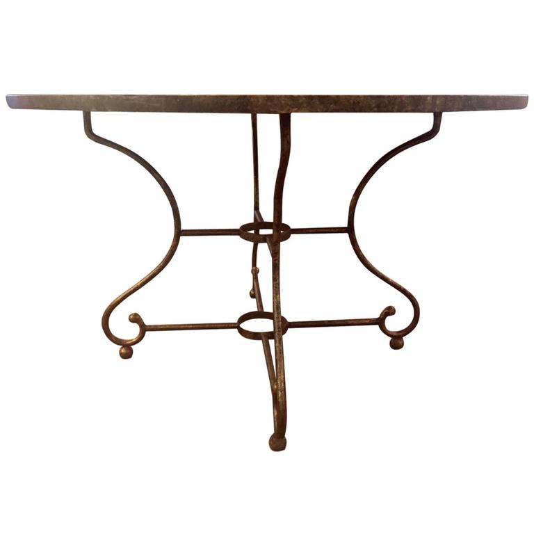 Oly Studio Aged Mirror And Wrought Iron Round Dining Table For Sale At