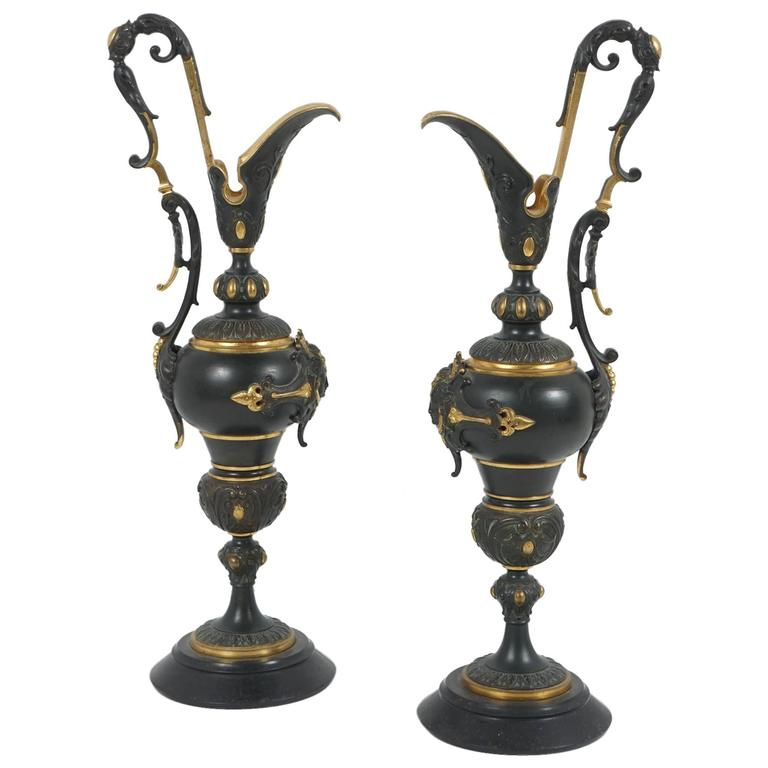Good Pair of Gilded and Patinated Bronze, 19th Century Mantel Urns