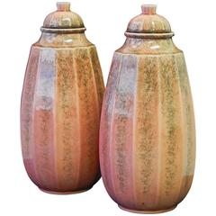 Rare Pair of Tall, Art Deco Lidded Urns by Paul Milet, Sevres