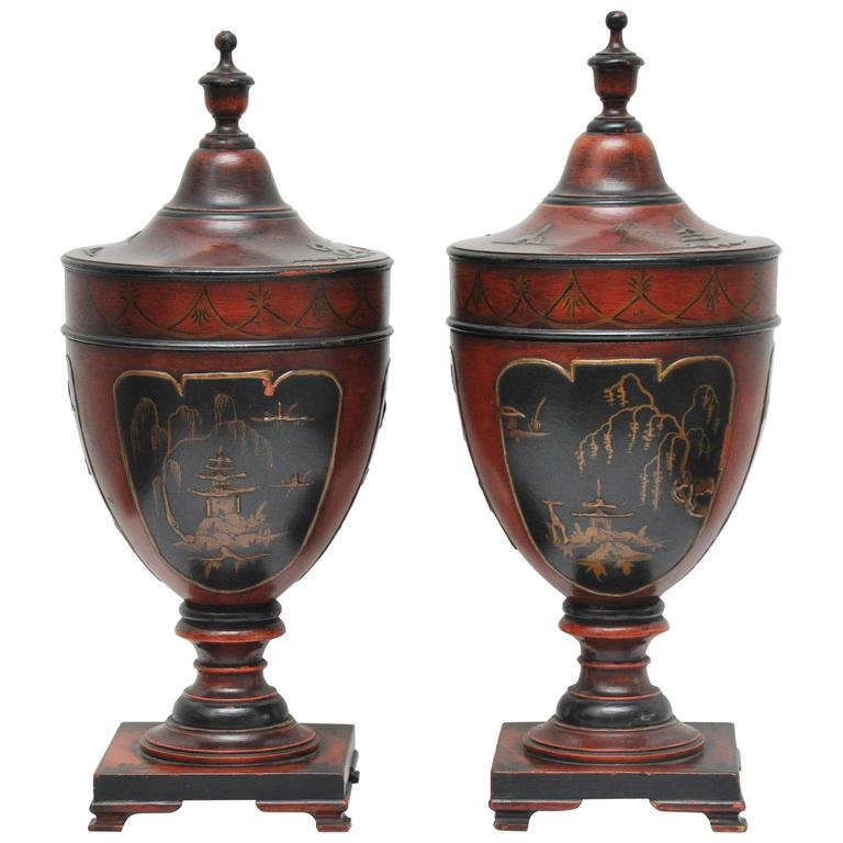 Pair of English Chinoiserie Knife Holders For Sale