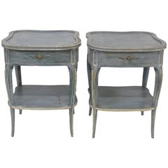 Pair of Don Ruseau Style Distressed Blue Painted Nightstands