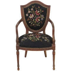 Louis XVI Style Carved Walnut Fauteuil Armchair