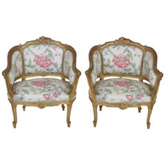 Pair of Antique French Gilt Carved Bergeres