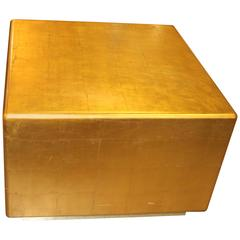 Gold Leaf Cube Table with Brass Banded Bottom