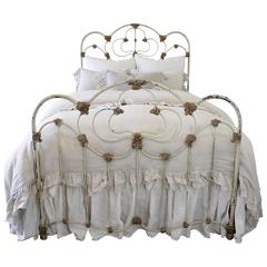 19th Century French Country Painted Full Size Iron Bed