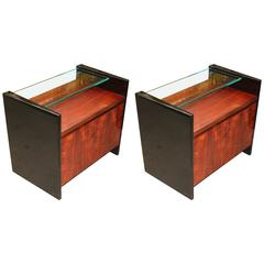 Pair of Beautiful Highly Lacquered End Tables with Glass Shelves