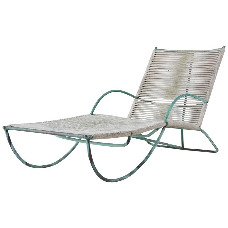 Walter lamb original bronze patio lounge chair at 1stdibs for Bronze chaise lounge