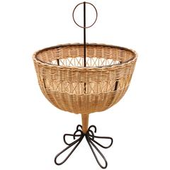 Danish Modernist Iron and Wicker Fruit Basket
