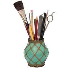 Antique Awaji Pottery Bronze Wrapped Brush Pot Pencil Jar