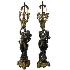Monumental Pair of French Doré Bronze Louis XV Style Figural Candelabra Lamps