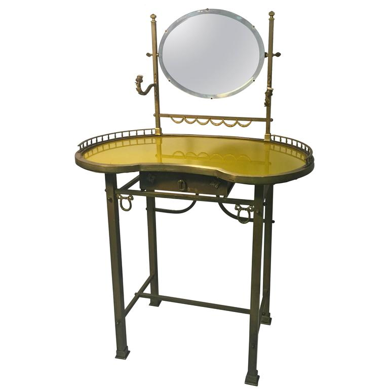 exquisite 19th century vanity with painted yellow glass top at 1stdibs