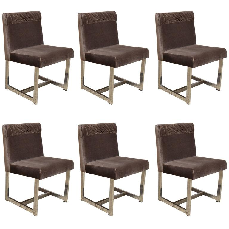Set of six style of milo baughman dining chairs by comfort for Comfortable chairs for sale