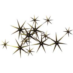 Curtis Jere Brass Brutalist Starburst Hanging Wall Sculpture