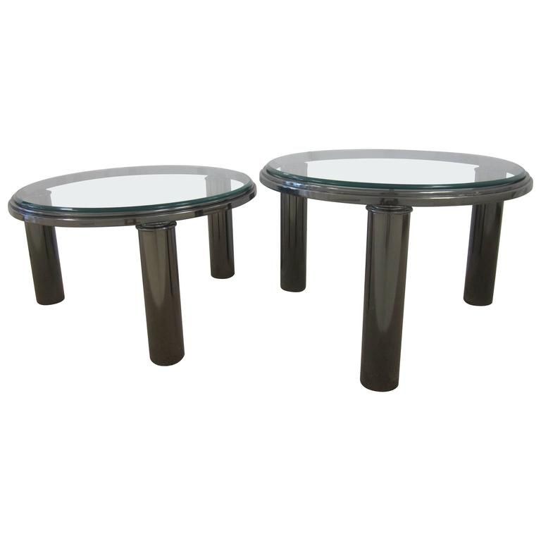 Designer Modern Smoked Chrome and Glass Round Side or Cocktail Tables