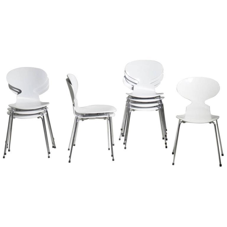 Arne Jacobsen Designed Set of Ten White Danish Modern Ant Chairs, 1976-86 1
