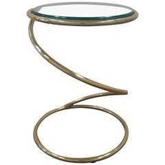 Vintage Modern Round Brass and Glass Twist Side Table after Milo Baughman