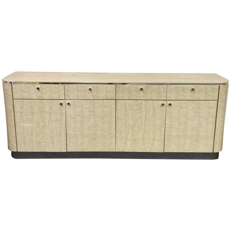 Travertine and Faux Birds Eye Maple Credenza by Milo Baughman for Thayer Coggin