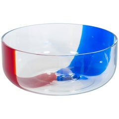 Italian Venetian, Bowl, Blown Murano Glass, Blue Red Transparent, Donà, 1990s