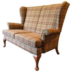 Antique Style Wingback Sofa Two-Seat Mahogany S Rouse & Co Tweed Peach