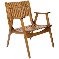 Stained Beechwood Elbow Chair with a Tension Sprung Articulated Seat and Back