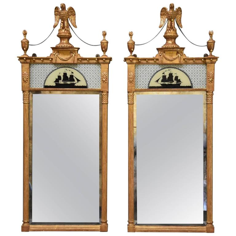 Superb Pair of Carved Giltwood Pier Mirrors in the Regency Style For Sale