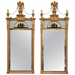 Superb Pair of Carved Giltwood Pier Mirrors in the Regency Style
