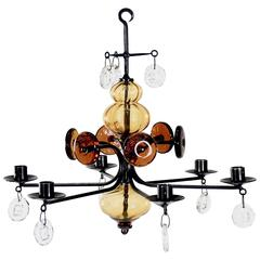 Wrought Iron and Glass Chandelier by Erik Höglund