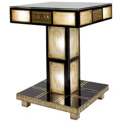 Square Secessionist Ebonized and Glazed Electrified Pedestal Table
