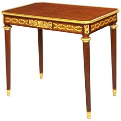 French 19th Century Mahogany and Gilt Bronze Side Table by Fernand Kohl