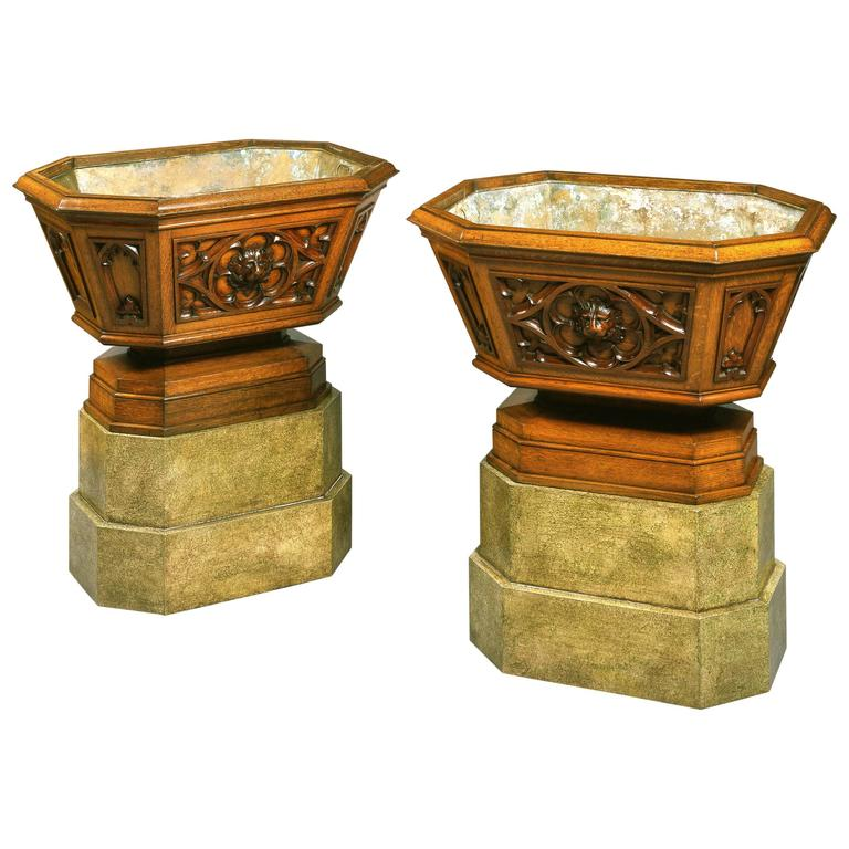 Pair of English 19th Century Oak Wine Coolers in the Gothic Style For Sale