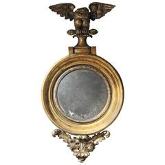 Very Pretty Regency Giltwood and Gesso Convex Mirror Surmounted by an Eagle