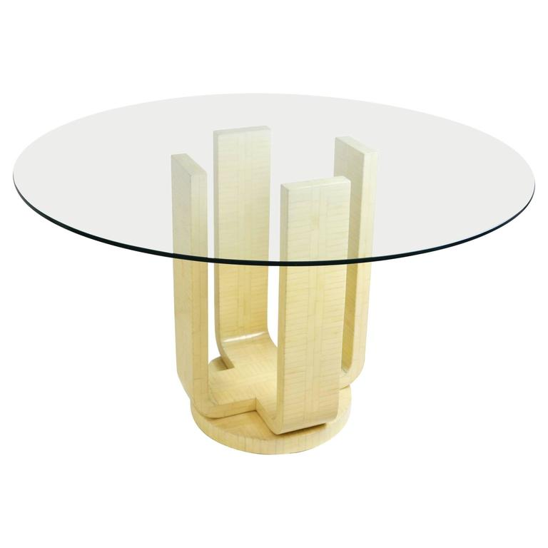 Karl Springer Style Tessellated Bone Dining Table with Glass Top