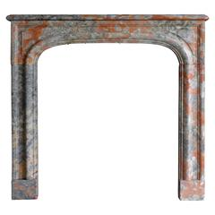19th Century Antique Louis XIV Fireplace Made of Rare Red Incarnat Marble